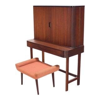 20th Century Art Deco Rosewood Open Up Vanity Set - 2 Pieces For Sale