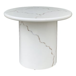 Memphis Style Cylinder Side Table in White Lacquer For Sale