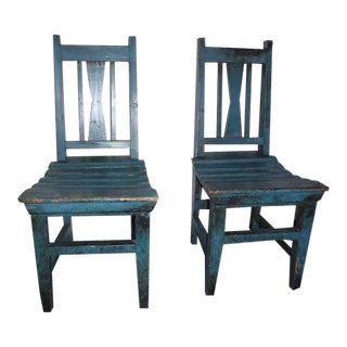 Pair of 19thc Original Blue Painted Childrens For Sale