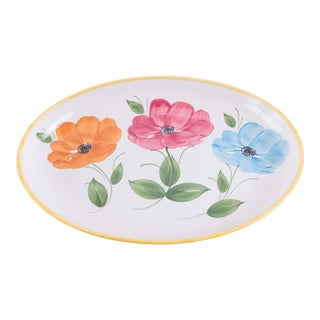 Madcap Cottage Italian Ceramic Floral Serving Platter For Sale