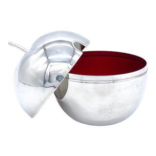 20th Century Reed and Barton Silver Plate With Red Enamel Apple Sugar Bowl/ Condiment Jar/ Salt Cellar For Sale
