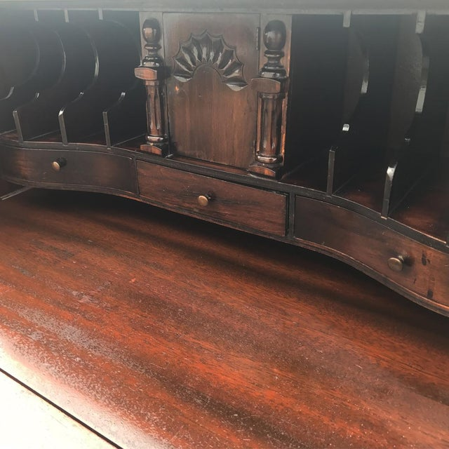 Antique Chippendale Style Governor Winthrop Block Drop Front Secretary Desk For Sale - Image 5 of 9