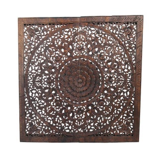 "Dark Wax Carved Square Panel 48"" For Sale"