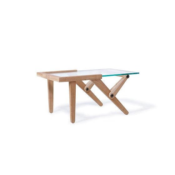 Modern Elm Wood & Glass Top Side Table For Sale - Image 5 of 7