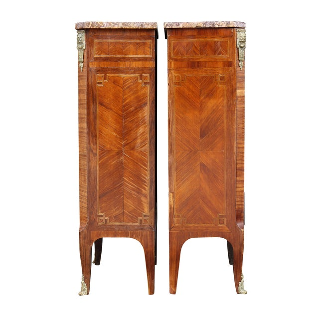 Louis XV Style Tulipwood Petit Commodes - a Pair For Sale - Image 11 of 12