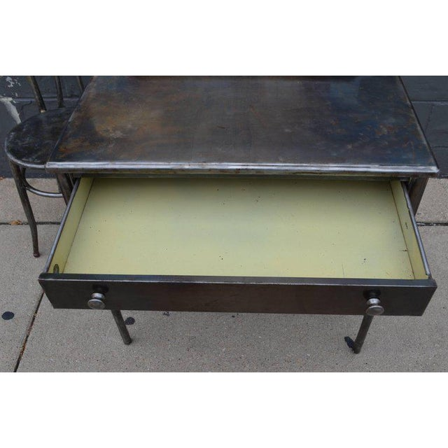 Silver Mid-Century Simmons Steel Desk with Steel Chair Labelled Physicians' Nurses' For Sale - Image 8 of 10