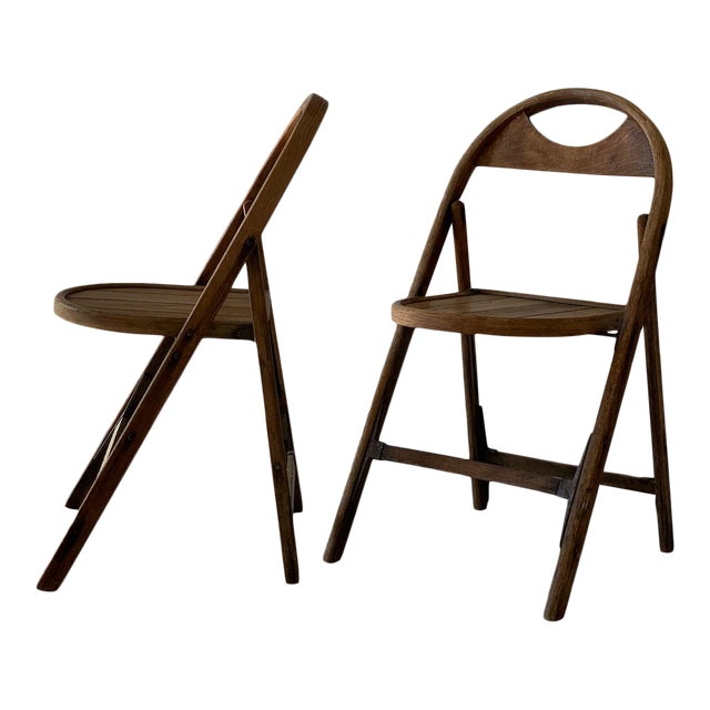 1930s Bauhaus Bent Wood Folding Chairs - a Pair For Sale