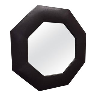 1950s Octagonal Brown Leather Mirror For Sale