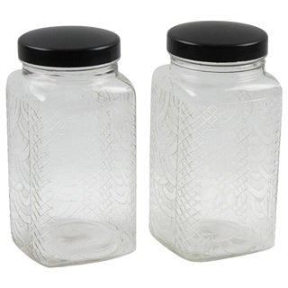 1930s Molded Glass and Bakelite Art Deco Kitchen Canister Jar, a Pair