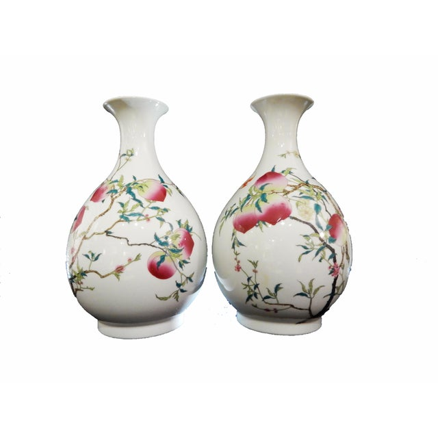 Chinese Famille Rose Pomegranate Vases A Pair Chairish