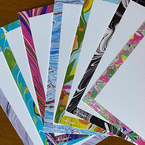Tuscan Jill Seale Hand Marbled Stationery Notecards - 8 Cards For Sale - Image 3 of 4