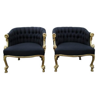 Stunning Pair of Napoleon III Style Twisted Rope and Tassel Carved Armchairs For Sale