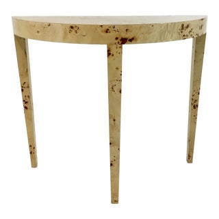 Ave Home Modern Blonde Burl Wood Chloe Demi-Lune Console Table For Sale