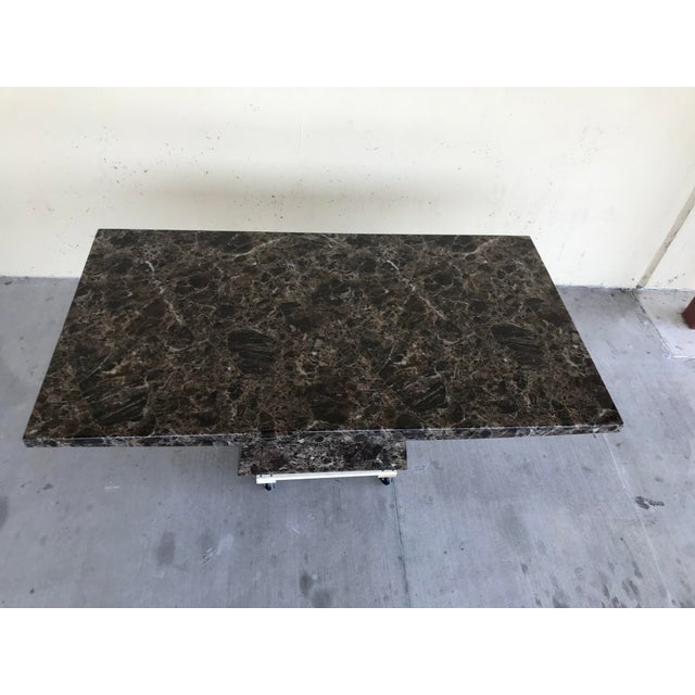 Stone Maurice Villency Style Marble Dining Table For Sale - Image 7 of 13