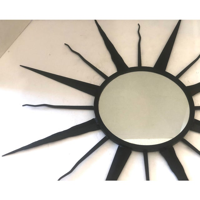 French C.1960 French Chaty, Vallauris Rare Black Sunburst Mirror For Sale - Image 3 of 12
