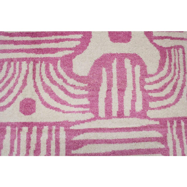 2020 Aara Rugs Pink Handknotted Wool Rug For Sale In Los Angeles - Image 6 of 9