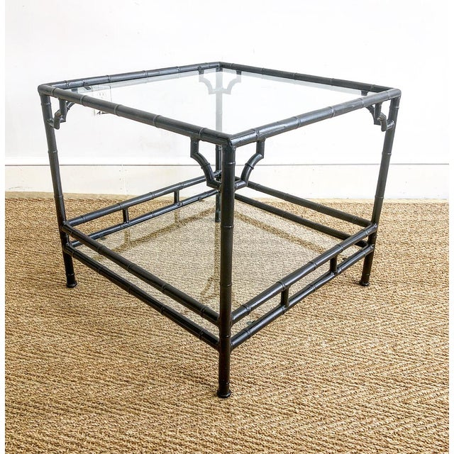Black Faux Bamboo Metal Outdoor Chinoiserie Style Square End Table For Sale - Image 8 of 8