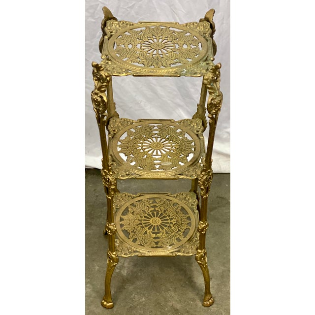 Vintage Three Tier Hollywood Regency Style Brass Plant Stand For Sale In Greensboro - Image 6 of 8