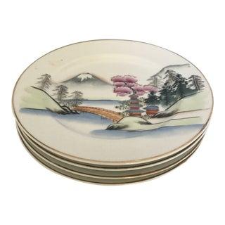 Vintage Japanese Porcelain Hand-Painted Dessert Plates - Set of 4 For Sale