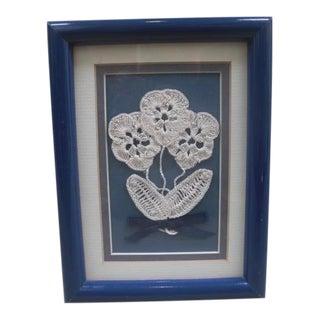 1980s Blue Framed Handmade Crochet Flowers For Sale