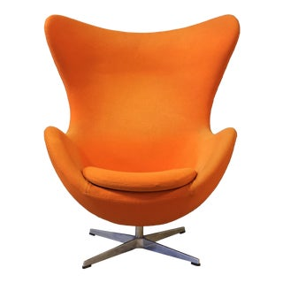 In the Style of Arne Jacobson for Fritz Hansen Orange Egg Chair For Sale