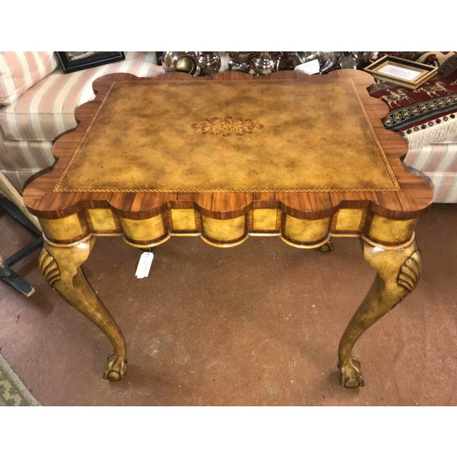 2000s Traditional Theodore Alexander Scallop Edge Side Table For Sale - Image 5 of 5