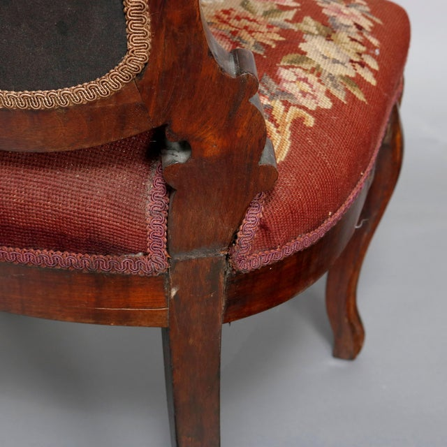 Mid 19th Century Antique Victorian Carved Walnut and Floral Needlepoint Parlor Chair For Sale - Image 6 of 7