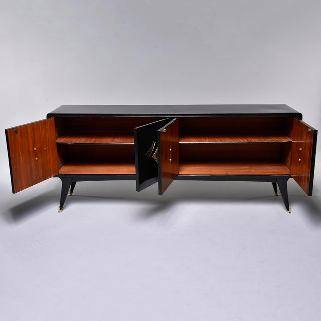 Italian Ebonised Sideboard With Brass Knobs For Sale - Image 10 of 13