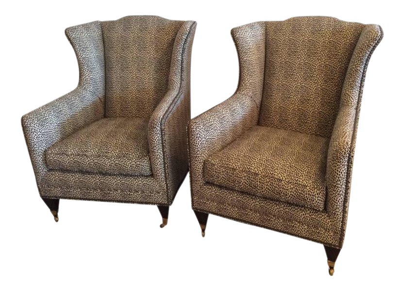 Henredon Vintage Wingback Animal Print Chairs   A Pair   Image 1 Of 10