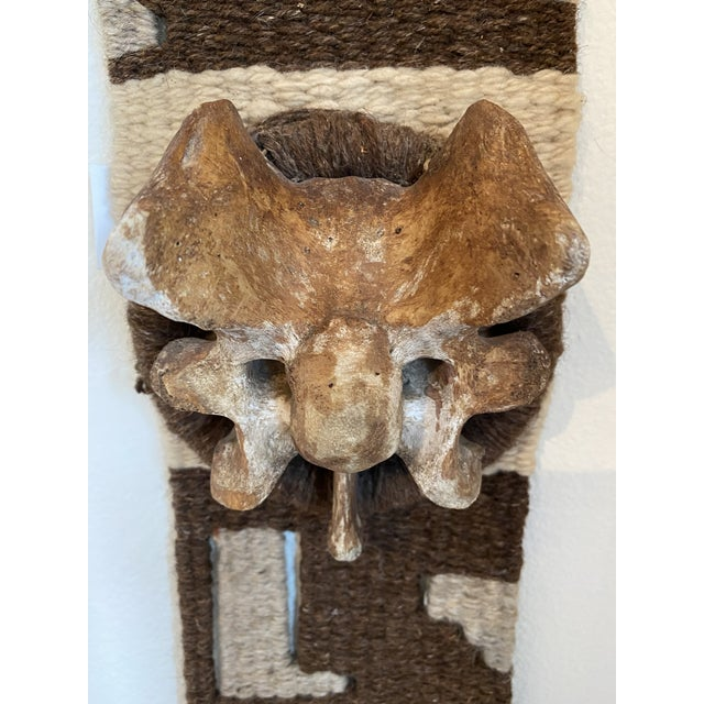 Brown Hand Woven Raw Wool Textile With Cow Vertebrae For Sale - Image 8 of 9