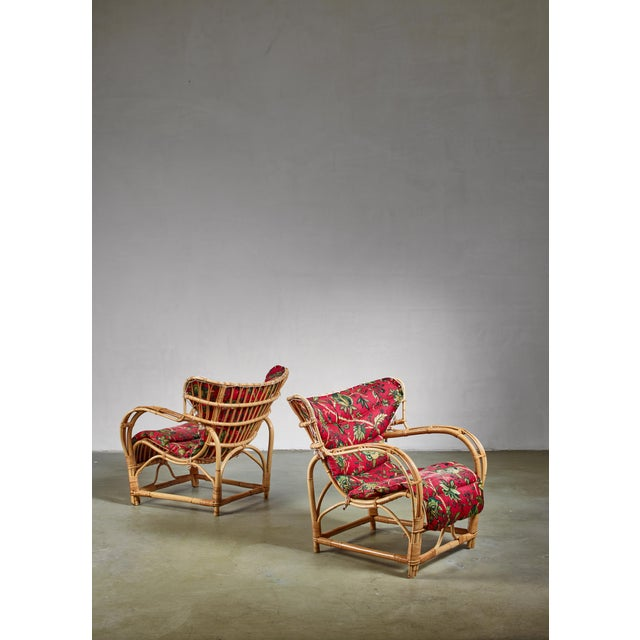 Red Pair of Bamboo and Rattan Lounge Chairs, Sweden, 1940s For Sale - Image 8 of 8