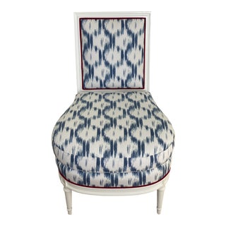 Blue Ikat Slipper Chair For Sale