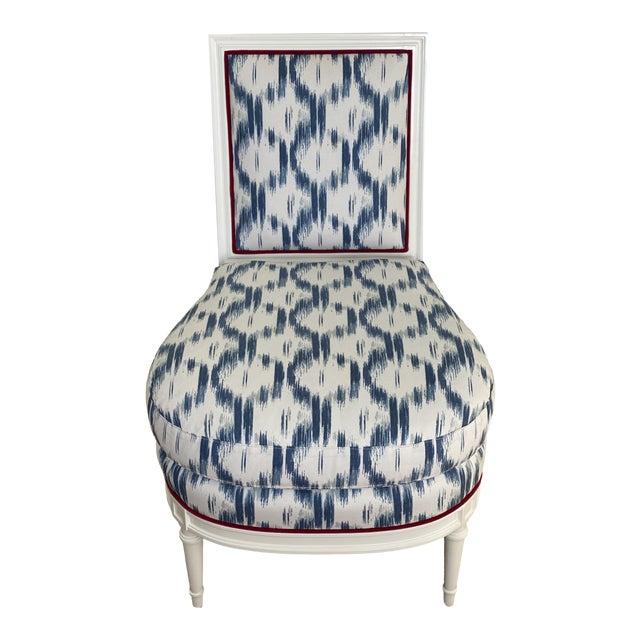 Blue Ikat Slipper Chair For Sale
