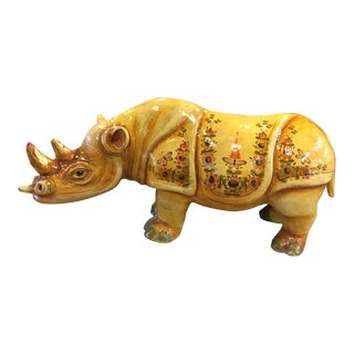 Paper Mache Rhino by Sergio Bustamante 55/100 For Sale