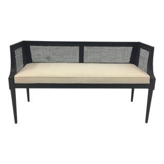 1960s Vintage Black Ebonized Bench For Sale