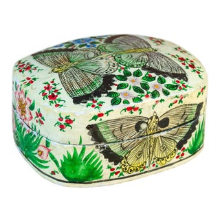 Hand Painted Kashmiri Butterfly Box For Sale