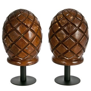 Carved Pineapple Shaped Wood Finials For Sale
