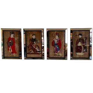 Set of Four Spectacular Quilted Asian Ancestors in Glitzy Mirrored Frames For Sale