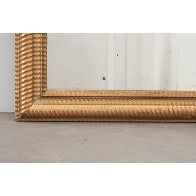 Glass French 19th Century Rectilinear Gold Gilt Mirror For Sale - Image 7 of 9