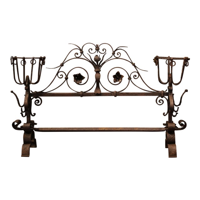 Important 18th Century French Gothic Wrought Iron Fireplace Screen With Landiers For Sale