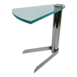 C.1970s-80s Rare -Leon Rosen for Pace Collection, Post-Modern Style Polished Steel and Glass Occasional, or Drinks Side Table For Sale