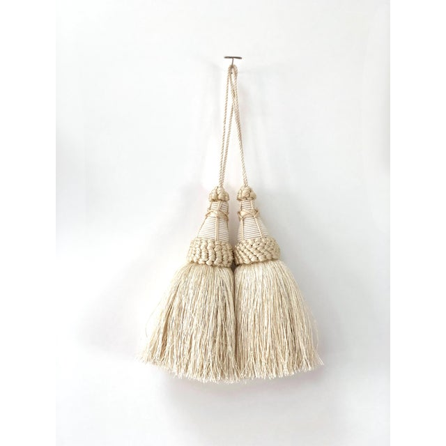 Pair of Key Tassels in Cream With Looped Ruche Trim For Sale - Image 10 of 10