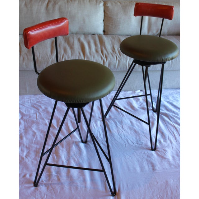 Six total available! This listing is priced as a pair. Extremely solid and sturdy vintage Italian bar stools. The seats...