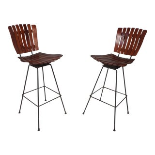 Pair of Mid-Century Modern Bar Swivel Stools by Arthur Umanoff For Sale
