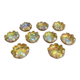 Louis Comfort Tiffany Favrile Glass Master Ruffled Stunning Iridescent Art Glass Salt Cellars - Set of 9 For Sale