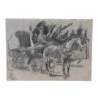 Horse & Buggy With Driver New York by Keller C 1900 For Sale