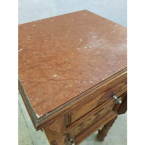Brown Antique French Vanity Armoire Barley Twist Stand Desk With Marble Top For Sale - Image 8 of 13