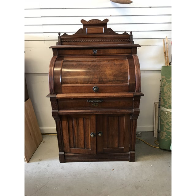 19th Century American Classical Cylinder Rolltop Secretary Desk For Sale - Image 13 of 13