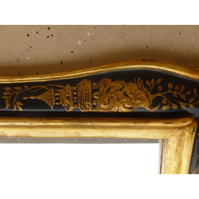1970's Vintage Italian Chinoiserie Black Lacquer Gilt Mirror For Sale - Image 4 of 7
