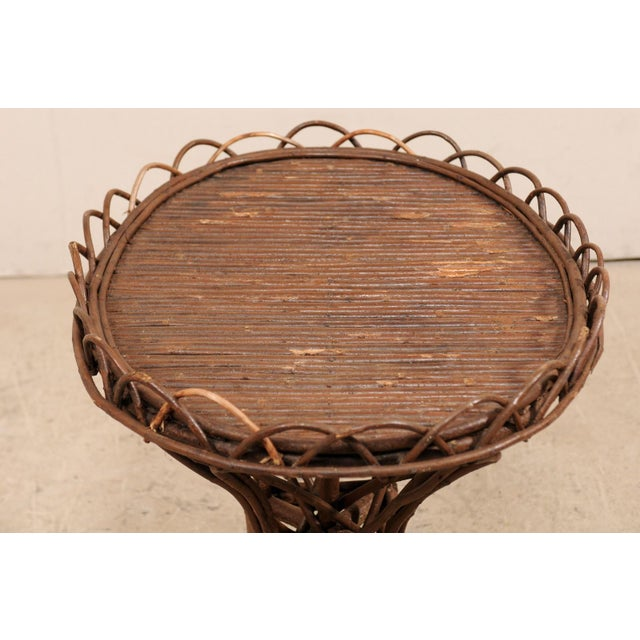 20th Century Swedish Wood Twig and Reed Oval Side Table For Sale - Image 9 of 12